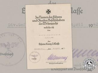 Germany, Heer. An Iron Cross II Class Document, Signed By Oak Leaves Winner Generalmajor Hans Schlemmer, 1942