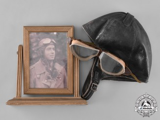 Germany, Imperial. A Pilot's Flight Helmet & Goggles, Flieger-Bataillon Nr. 1