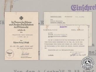 Germany, Heer. An Iron Cross II Class Document With Accompanying Letters