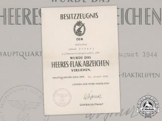 Germany, Heer. An Army Flak Badge Award Document To Gefreiter Alfred Nötzel