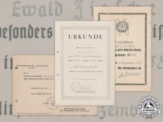 Germany, SS. Three Certificates to SS-Unterscharführer Ewald Ziesche, LSSAH