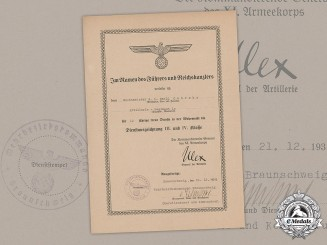 Germany, Wehrmacht. A 12-Year Long Service Award Document to Wachtmeister der Landwehr Ewald Gehreke, c.1939