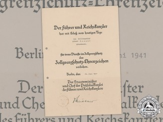 Germany, Third Reich. A Customs Protection Long Service Award Document,1941