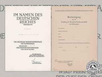 Germany, NSDAP. An Award Document To Spanish Sergeant Don Lucio Munumer Reoyo, 1939
