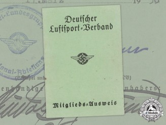 Germany, DLV. An Air Sports Association Member's Identification Card to Sigmund Rudolf