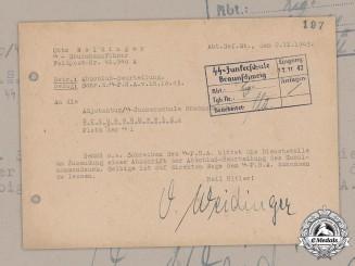 Germany, SS. An Official Letter Sent & Signed by SS-Sturmbannführer Otto Weidinger (KC w/Oak Leaves & Swords), 1943