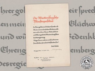 Germany, NSDAP. A Congratulatory Document For Golden Wedding Anniversary By Governor Of Württemberg, 1941