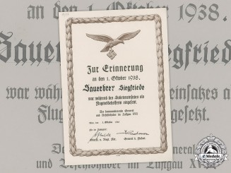 "Germany, Luftwaffe. A Rare Female Auxiliary ""Flugmeldehelferin"" Sudetenland Participation Document"