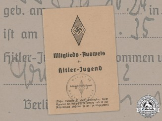 Germany, HJ. A HJ Member's Identification Card to Willi Waigel