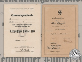 Germany, SS. A Pair of Documents to SS-Oberscharführer Hugo Mayer