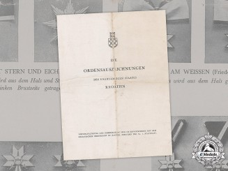 Germany, NSDAP. A Brochure Containing the Orders and Decorations of the Independent State of Croatia