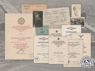 Germany, Luftwaffe. A Collection of Documents to Honour Goblet Recipient Ernst Halbrock