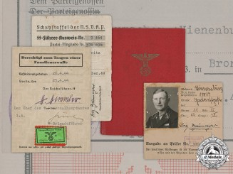 Germany, SS. A Group of Documents Belonging to SS-Obersturmführer Fritz Schumacher