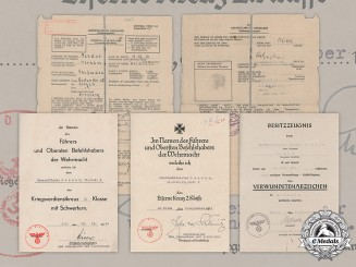 Germany, Heer. A Lot Of Documents To Artillery Oberwachtmeister Hermann Bender
