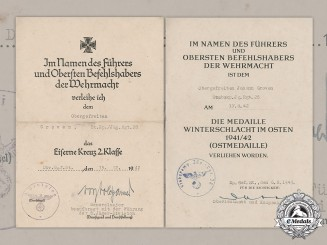 Germany, Heer. Two Award Documents To Obergefreiter Groven, Jäger Regiment 28