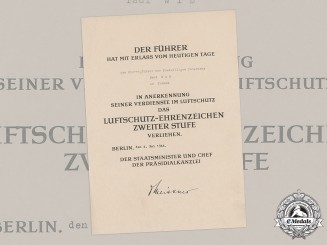 Germany, Third Reich. An Air Raid Defence Medal Award Document to Paul Wiß, c.1944