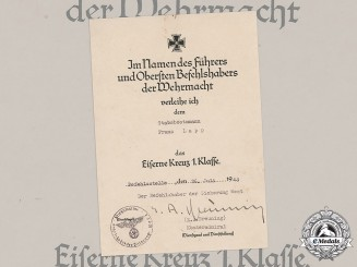 Germany, Kriegsmarine. An Award Document for an Iron Cross, I Class, to Stabsbootsmann Franz Lapp, c.1943