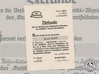 Germany, Third Reich. A Stahlhelm Commencement of Duty Badge Document to Ernst Kahl, c.1934