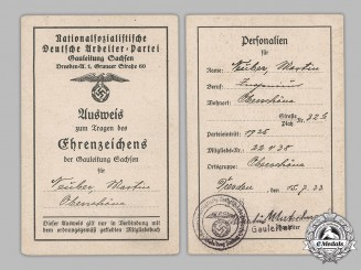 Germany, Third Reich. A NSDAP Ausweis for a Golden Party Badge, to Martin Neuber, c.1933