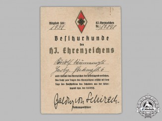 Germany, Third Reich. An Award Document for a Golden HJ Honour Badge, to Rudolf Däumenischt