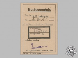 Germany, Third Reich. An Award Document for a HJ Proficiency Badge, to Rolf Sachtleben, c.1942