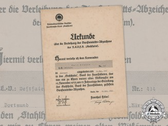 Germany, Third Reich. A Stahlhelm Commencement of Duty Badge Document to Emil Brauer, c.1935