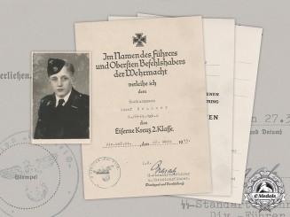 "Germany, Waffen-SS. Three Award Documents & Studio Portrait Of SS-Sturmmann Josef Brunner, SS Panzer Regiment ""Das Reich"""