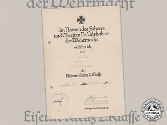 Germany, Heer. An EK2 Award Document To Defender Of Fortress Brest Signed By Oak Leaves Recipient Oberst Pietzonka
