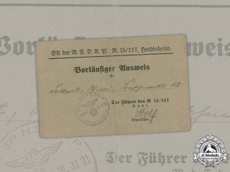 Germany, SA. A Preliminary Member ID Card Of Local Unit, 1933