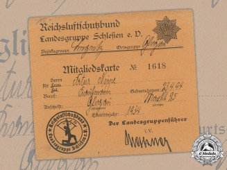 Germany, Reichsluftschutzbund. A Membership Card Of Group Silesia, 1934