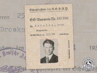 Germany, SS. An Early ID Card To SS-Mann Artur Schulze, 1934