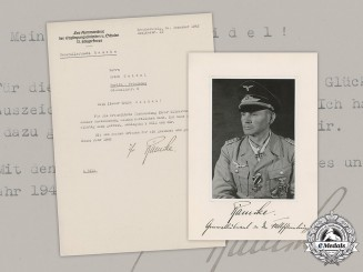 Germany, Heer. A Thank You Letter & Photo from General Hermann-Bernhard Ramcke, RC w/Diamonds
