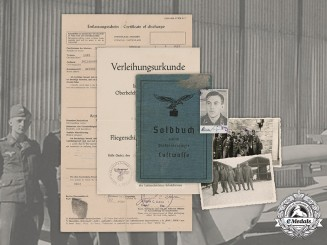 Germany, Luftwaffe.  A Soldbuch & Document Grouping to Unteroffizier Hans Berger
