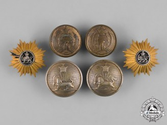 Iran, Pahlavi Dynasty. A Lot of Two Cap Badges & Four Buttons