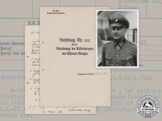 "Germany, Waffen-SS. A KC Recommendation To SS-Obersturmbannführer Rumohr, ""Florian Geyer"""