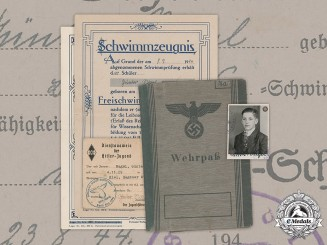 Germany, HJ. A Wehrpaß And Documents To 16 Year Old Günter Nagel, April 1945