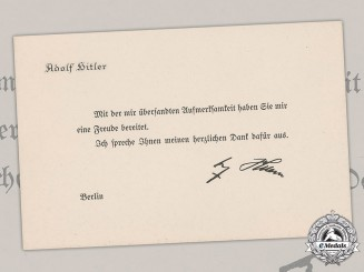 Germany, Third Reich. A Gratitude Card from AH