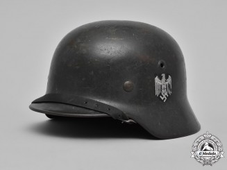 Germany, Heer. A Heer M40 Single-Decal Steel Helmet by Eisenhüttenwerk Thale