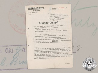 Germany, SA. An Expulsion Letter Sent & Signed By Supreme SA Leader, Viktor Lutze. 1937