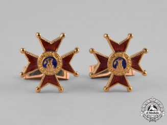 Vatican. A Pontifical Equestrian Order of St. Gregory the Great, Gold Cufflinks Pair