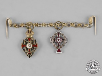 Austria, Imperial. A Franz Josef & Red Cross Miniature Chain