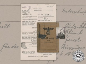 Germany, Wehrmacht. A Soldbuch & Documents To Infantry Oberleutnant Helmut Haug (EK1)