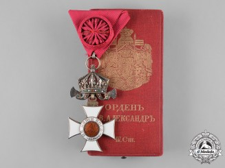 Bulgaria, Kingdom. An Order of St. Alexander, IV Class Officer, with Case, by C.F. Rothe & Neffe