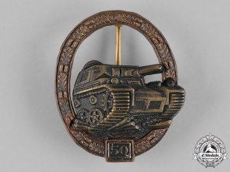 Germany, Federal Republic. A Special Grade Tank Badge for 50 Engagements, 1957 Version