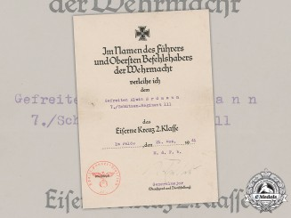 Germany, Heer. An Iron Cross, II Class, Award Document to Gefreiter Alwin Erdmann, 1941