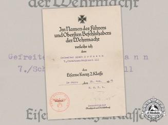 Germany, Heer. An Iron Cross, II Class, Award Document to Gefreiter Alwin Erdmann, 1941