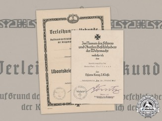 Germany, Kriegsmarine. A Pair of Award Documents to Günter-Karl Fallasch, 1942