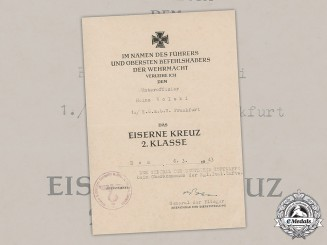 Germany, Luftwaffe. An Iron Cross, II Class, Award Document to Unteroffizier Heinz Wolski, 1943