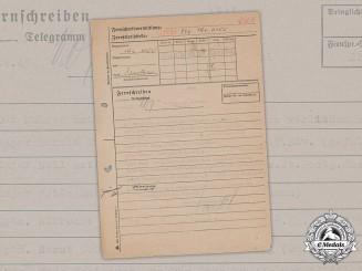 Germany, Heer. An Internal Telegram Listing Knight's Cross Recipients, 1945