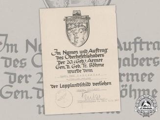 Germany, Wehrmacht. A Lappland Shield Award Document to Obergefreiter Karl Schroeder, 1945